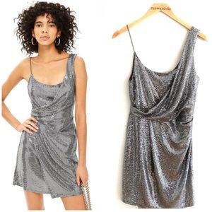 { Topshop } Silver Sequin Drape Dress Sz 6
